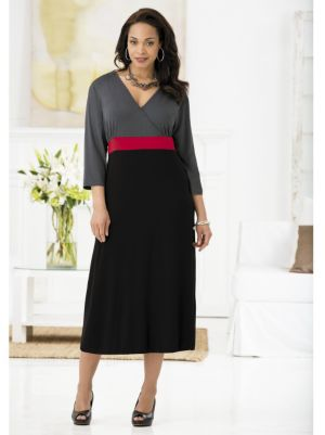Surplice-look Colorblocked Knit Dress