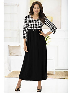 Houndstooth Empire Knit Dress by Ulla Popken