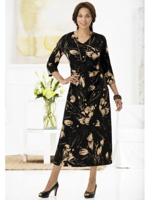 Side-ruched Brush Print Matte Jersey Dress