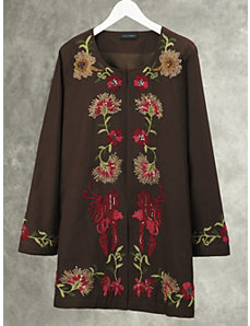 Floral Vine Embroidered Jacket by Ulla Popken