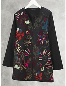 Abstract Organics Embroidered Jacket by Ulla Popken