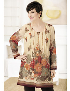 Blooming Border Print Tunic by Ulla Popken
