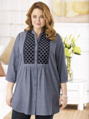 Denim Forever Embroidered Tunic Blouse