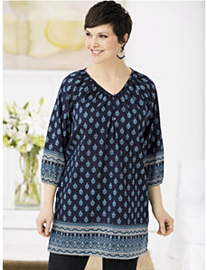 La Belle Border Print Peasant Tunic by Ulla Popken