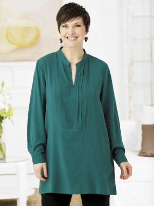 Madison Zip-neck Pintucked Tunic