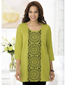 Medallion Tower Embroidered Knit Tunic by Ulla Popken