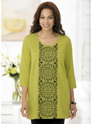 Medallion Tower Embroidered Knit Tunic