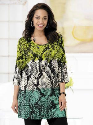 Tri-tone Reptile Print Knit Tunic