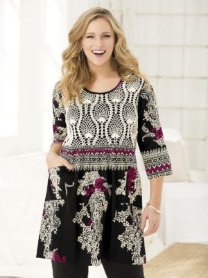 Beautifully Bordered Crochet Yoke Knit Tunic