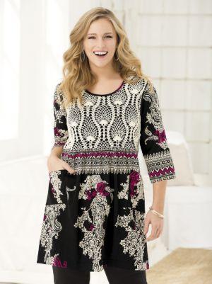 Beautifully Bordered Crochet Yoke Knit Tunic