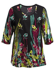 Paintbox Floral Knit Tunic by Ulla Popken