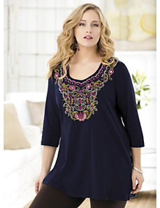 Sweet Blueberries Embroidered Knit Tunic by Ulla Popken