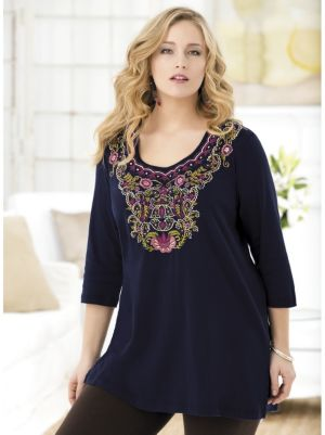 Sweet Blueberries Embroidered Knit Tunic