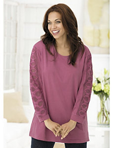 Medallion Chain Crochet Sleeve Knit Tunic by Ulla Popken