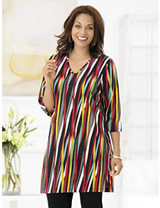 Crayon Box Striped Knit Tunic by Ulla Popken