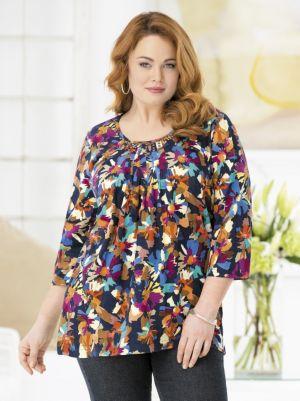 Grommet-trim Floral Knit Tee