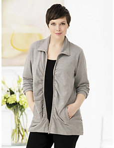 Ruched Zip-front Knit Jacket by Ulla Popken