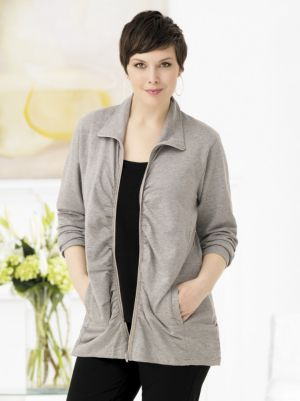 Ruched Zip-front Knit Jacket