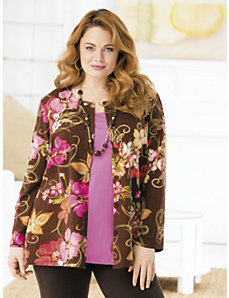 Flowers and Chocolate Print Knit Jacket by Ulla Popken