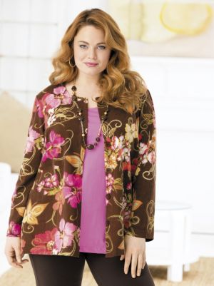Flowers and Chocolate Print Knit Jacket