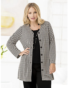 Houndstooth Knit Jacket by Ulla Popken