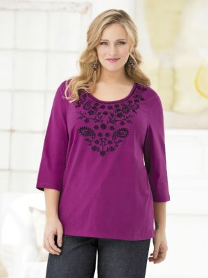 Tamara Embroidered Knit Tee