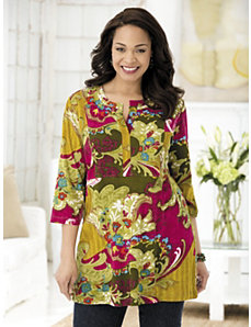Fanciful Floral Knit Tunic by Ulla Popken