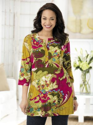 Fanciful Floral Knit Tunic