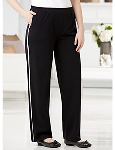 Racing Stripe Knit Pants by Ulla Popken