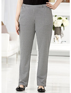 Houndstooth Check Knit Pants by Ulla Popken