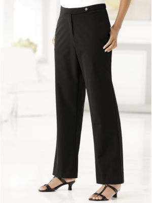 Stretch Button-and-Zip Shorter-length Tab Pants