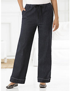 Stretch Wide-leg Shorter-length Pants by Ulla Popken