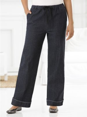 Stretch Wide-leg Shorter-length Pants