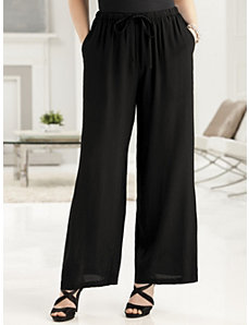 Crepe Wide-leg Shorter-length Pants by Ulla Popken