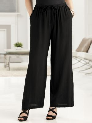 Crepe Wide-leg Shorter-length Pants