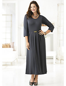 Belted Knit Dress by Ulla Popken