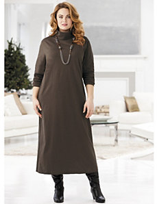 Knit Turtleneck Shorter-length Dress by Ulla Popken