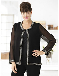 Beaded Border Jacket by Ulla Popken