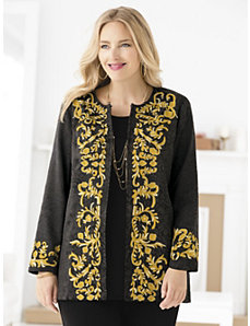 Regally Embroidered Damask Jacket by Ulla Popken