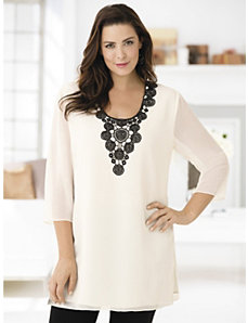 Lacy Days Appliqued Tunic by Ulla Popken