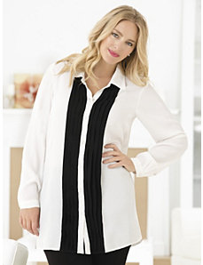 Replete with Pleats Tuxedo Tunic by Ulla Popken