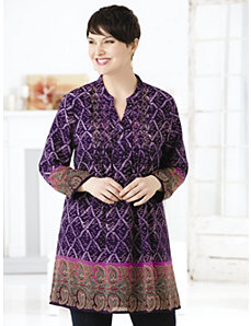 Purple Majesty Baby Doll Tunic by Ulla Popken