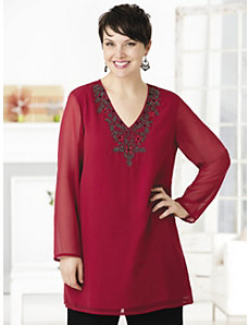 Red Star Embellished Tunic by Ulla Popken