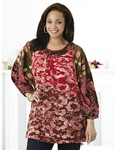 Floral Arrangements Knit Tunic by Ulla Popken