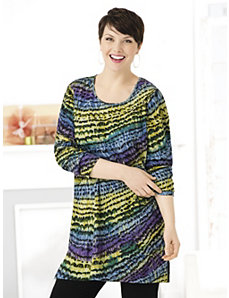 Dimensional Print Knit Tunic by Ulla Popken