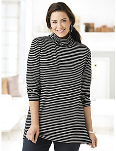 Striped Delight Stretch Knit Turtleneck by Ulla Popken