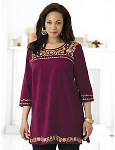 Golden Palace Knit Tunic by Ulla Popken