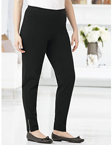 Zip-hem Stretch Knit Leggings by Ulla Popken