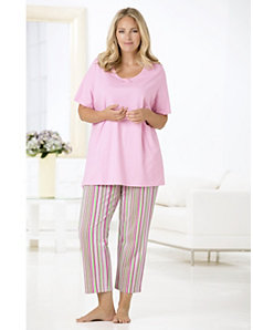 Striped Delight Knit Pajamas by Ulla Popken