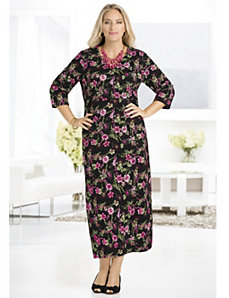 Carnation Bouquet Knit Dress by Ulla Popken